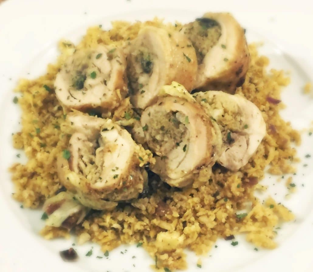 Low Carb Stuffed Chicken with Spicy Cauliflower Rice