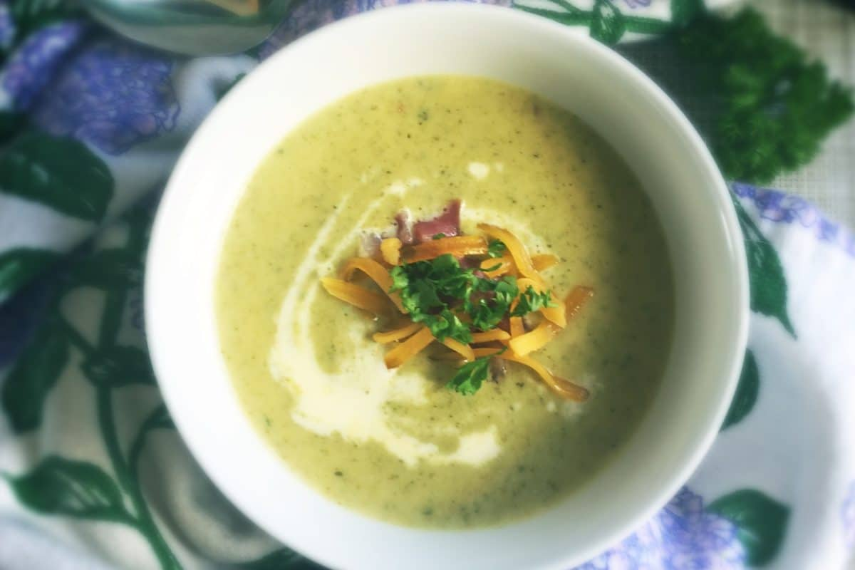 Low Carb Creamy Broccoli Cheese and Bacon Soup