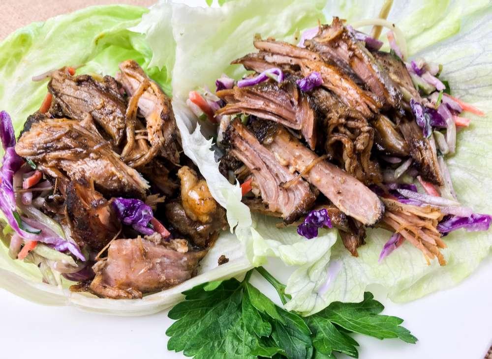 Low carb Slow Cooker Pulled Pork Lettuce Wraps