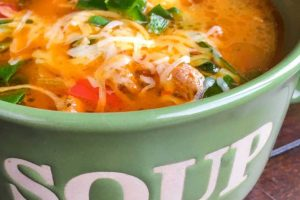 Low carb Sausage Soup with Peppers and Spinach