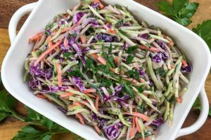 Low Carb Easy Crunchy Broccoli Slaw