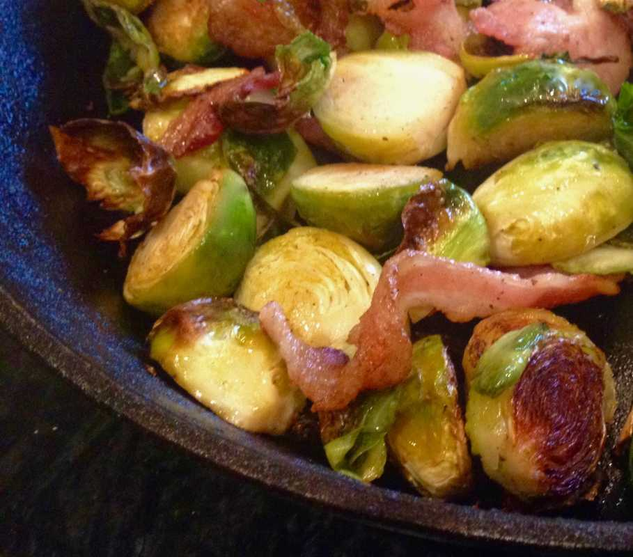 Low Carb Pan Roasted Brussels Sprouts and Bacon